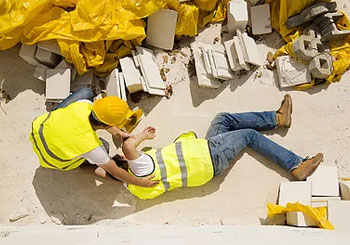 workers in yellow vests fell down