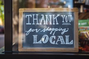 Shop local window sign